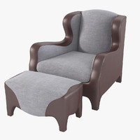 3d model of promemoria club armchair pouf