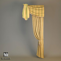 3d model classic curtain vintage