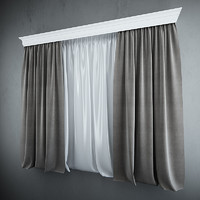 3d curtains blinds model