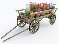ornamental wooden cart pots 3d model