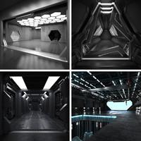 4 sci fi interiors 3d model