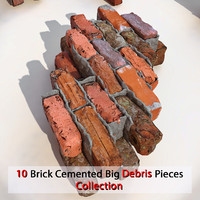 Brick Big Debris Block Pieces together Realistic Stone Detailed V ray v-ray Vray detail red dirty old dirt soil collection orange concrete stucco plaster