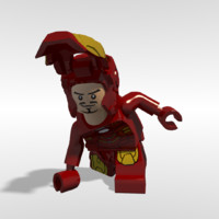 lego iron man rigged 3d obj