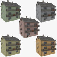 3d model of storey apartment building