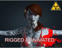 3d zombie female model