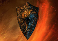 gold lion shield 3d model