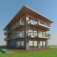 3d model modern tyrolean house