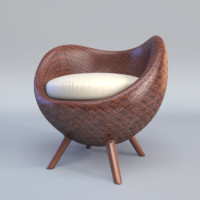 3d model la luna arm chair
