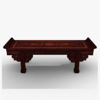 oriental bench 3d max