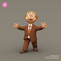 3d funny business man character rigged model