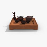 3d oriental tea set model