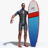 surfer wetsuit surfboard 3d max
