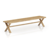 3d max simple wooden bench