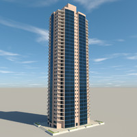 3d residential apartment building model