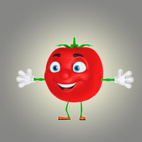cartoon tomato 3d model