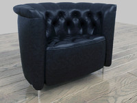 3ds max leather chesterfield armchair