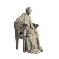 3d voltaire statue