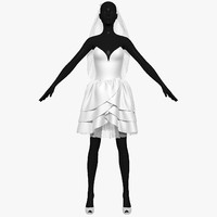 3d model wedding dress 004 female