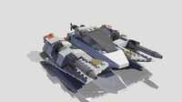 3d model snowspeeder lego rigged