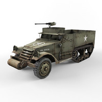 half-track m3 vehicle 3d model