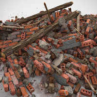Brick Realistic Stone Debris Pile Detailed V ray v-ray Vray detail red dirty old dirt soil house  structure heap orange