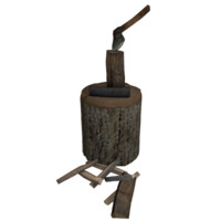 3d stump axe firewood tree model