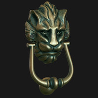 3d model lion head door knocker
