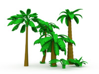 3d cartoon palms tree