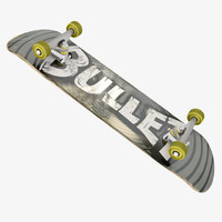 3d rigged skateboard model