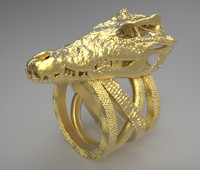 3D Printable Crocodile Skull Ring