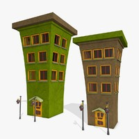 cartoon buildings 3d 3ds