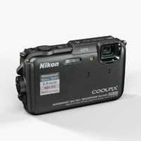 nikon coolpix aw110 black 3d model