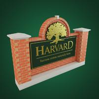 3d harvard sign