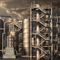 3d 3ds rusty oil refinery