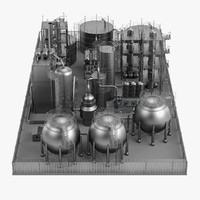 3d model large oil refinery