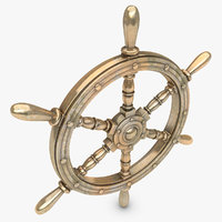 realistic ship wheel bronze 3d