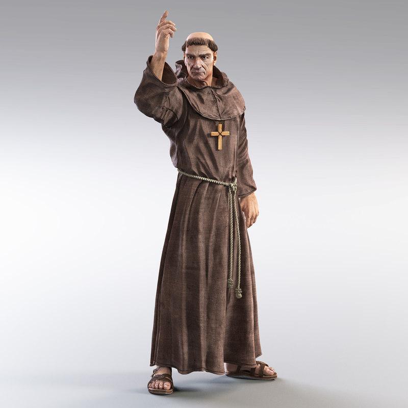 3d model medieval monk...