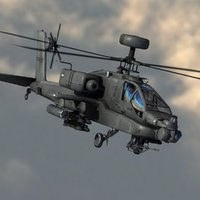 3d model apache attack helicopter
