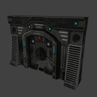 3ds max sci-fi wall door