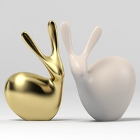 3d clay figurine rabbits