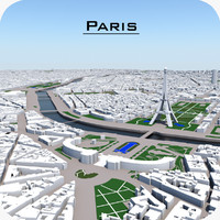 3d model paris cityscape