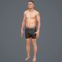 body scan - rigged male 3d model