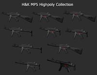 3d highpoly mp5 model