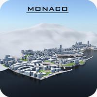 monaco cityscape 3d model