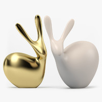 3d max clay figurine rabbits