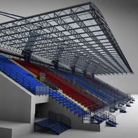 stadium seating tribune 3d max