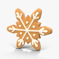 3d model gingerbread cookie snow