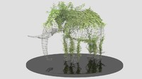 metal wire sculpture elephant 3d max