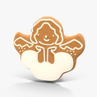 3d model gingerbread cookie angel 02
