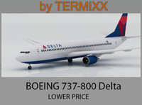 3d model airplane boeing 737-800 delta